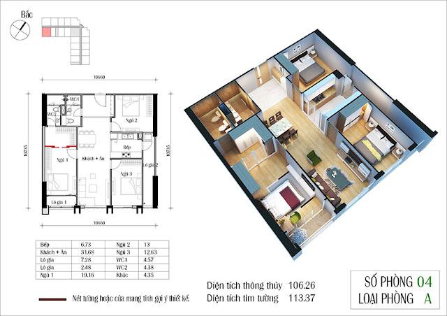 Thiết kế căn hộ 04 tòa CT2 Eco Green City