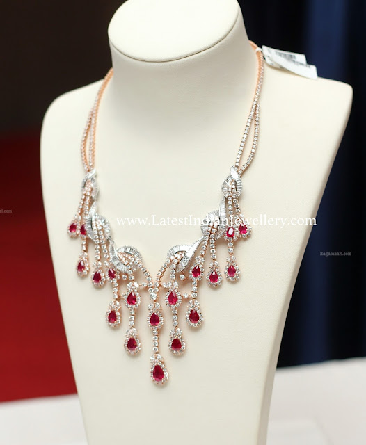 Ruby Droplets Diamond Necklace