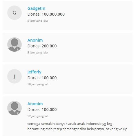 Donasi Rp 100 Juta dari Gadgetin (kitabisa.com)