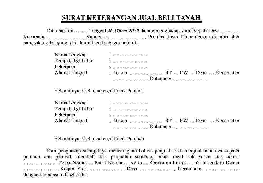 Format Surat Jual Beli Tanah - antapedia.com