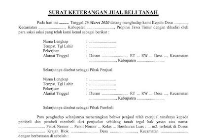 Format Surat Jual Beli Tanah