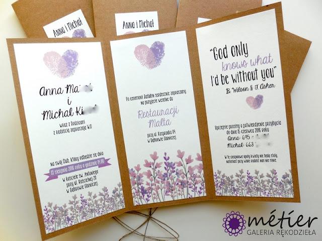 Rustykalne zaproszenia ślubne z akcentami fioletowymi