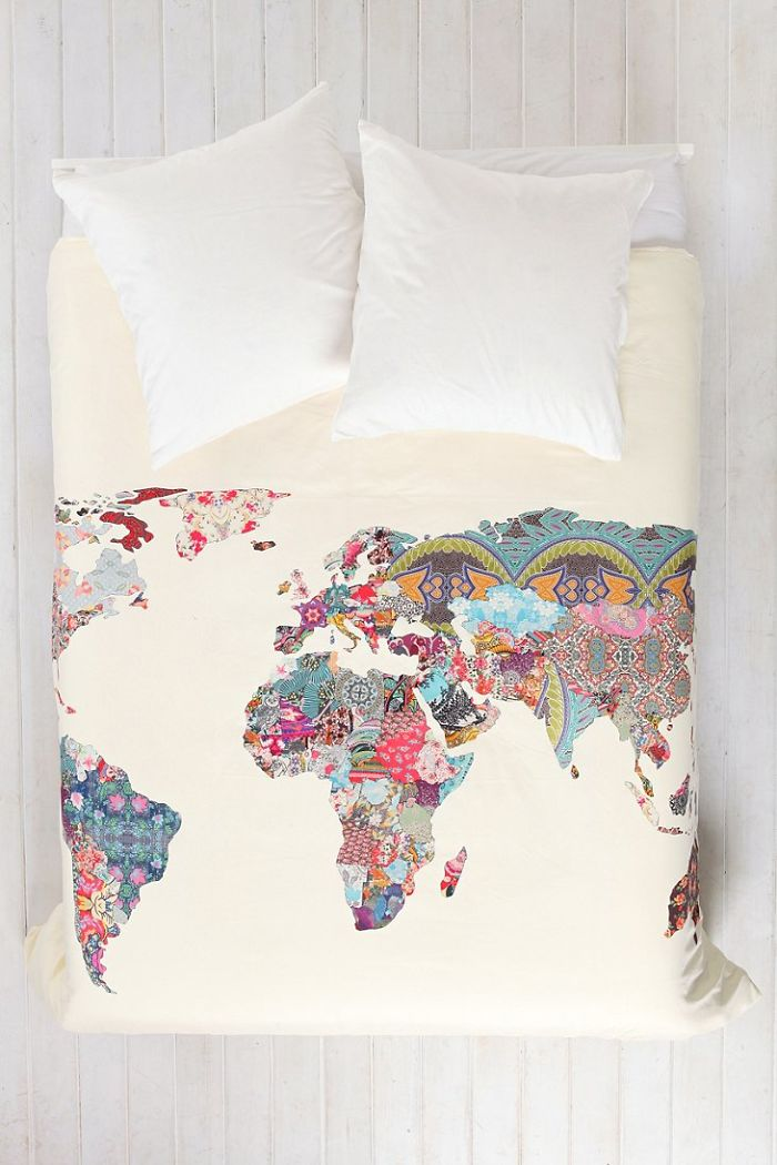 15+ Of The Best Traveler Gift Ideas Besides Actual Plane Tickets - World Map Patchwork Duvet