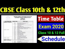 CBSE 2020 Date Sheet for 10th & 12th (New)
