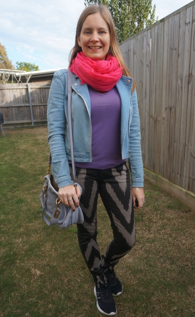 Sass and bide playman chevron print skinny jeans double denim outfit with purple tee and pink scarf   awayfromtheblue