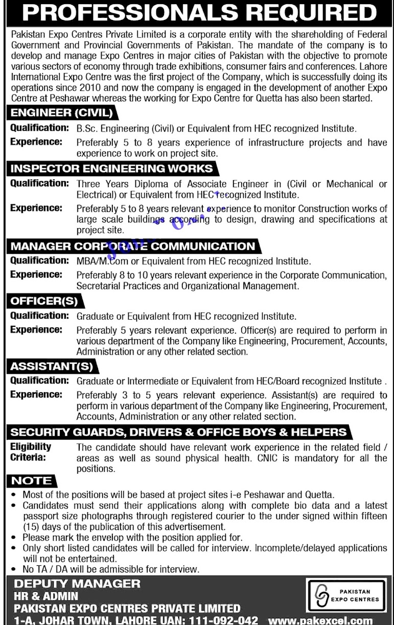 Latest Jobs in Pakistan Expo Centers Private Limited PECPL 2021