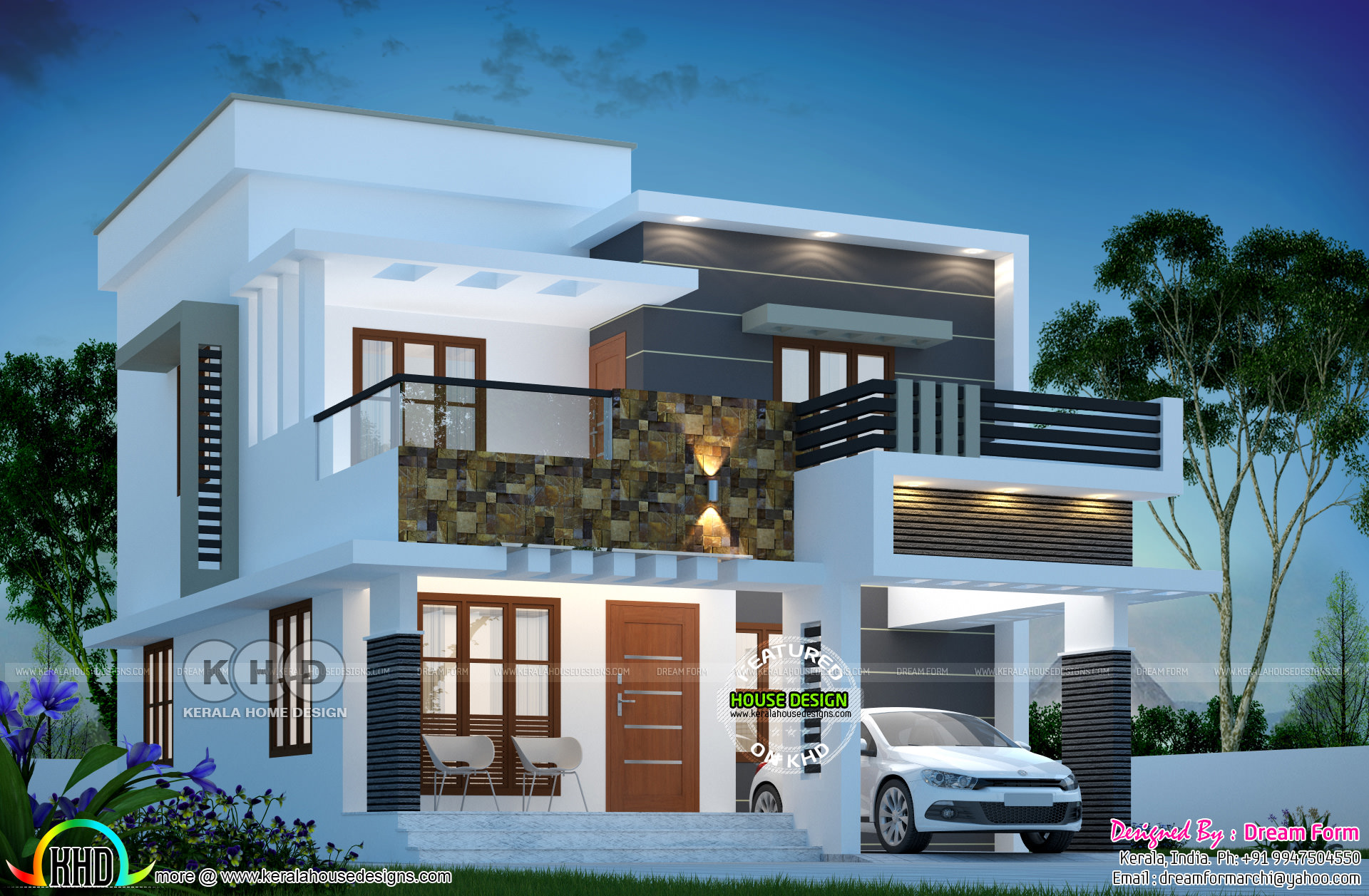 1615 Square Feet 3 Bedroom Modern Flat Roof House Kerala Home Design Bloglovin