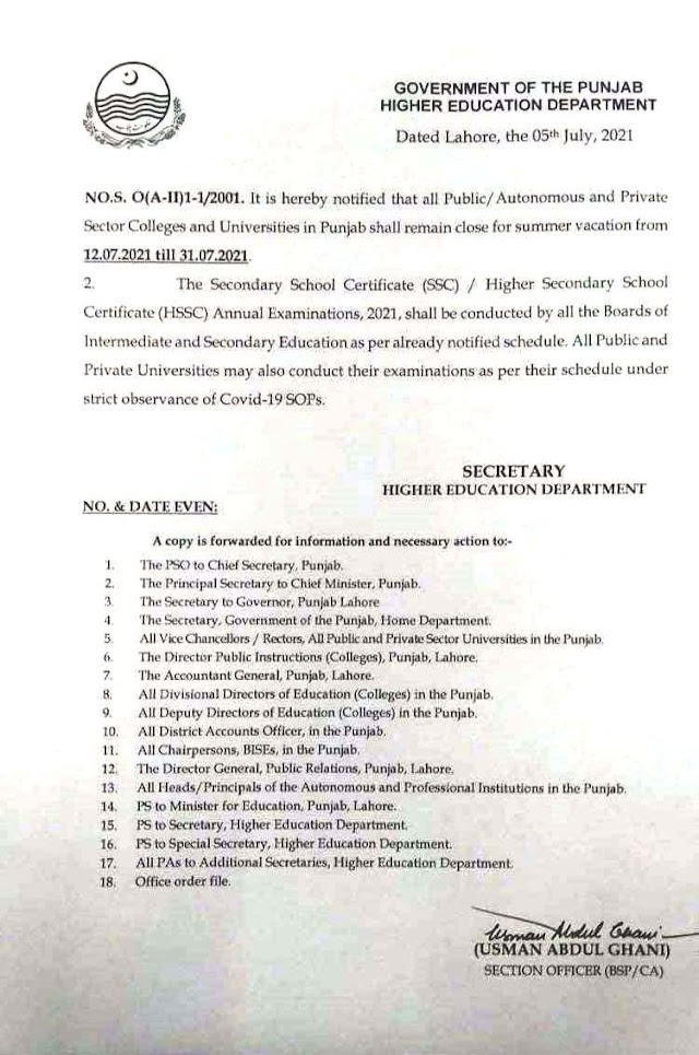 NOTIFICATION REGARDING SUMMER VACATIONS IN COLLEGES AND UNIVERSITIES AND CONDUCTION OF ANNUAL EXAMINATIONS