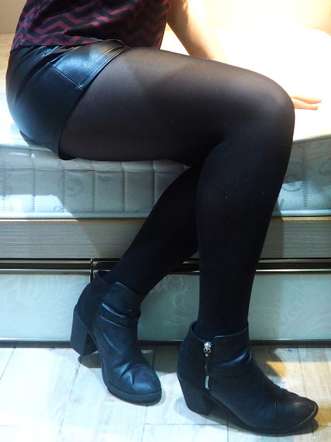 Night On The Town - outfit close up of black leather shorts, tights and heeled ankle boots