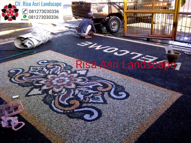 jasa pembuatan batu sikat batu alam, karpot, carport lantai garasi motif batu TUKANG TAMAN BONDOWOSO - JASA PEMBUATAN PERTAMANAN LANDSCAPE