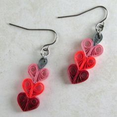 Long model heart shape quilling paper earrings - quillingpaperdesign