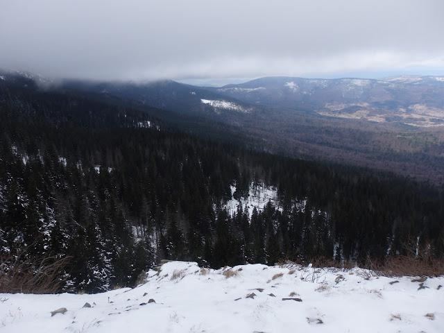 Sokolica, panorama na północny zachód. 6 marca