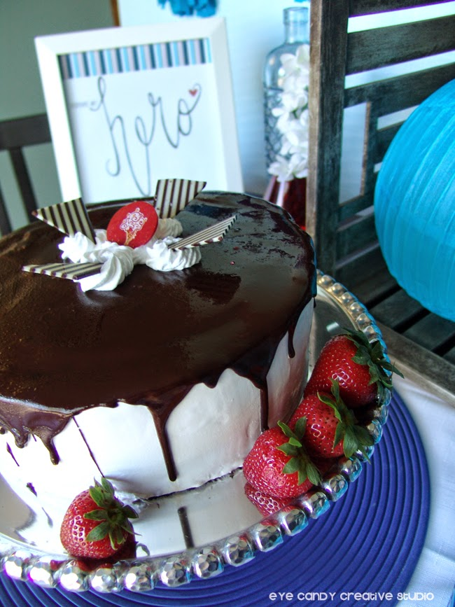strawberries and ice cream cake, red and blue dessert table, cold stone