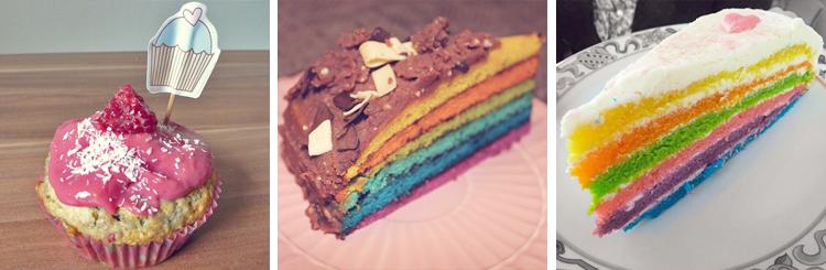 Rezepte • Himbeer-Kokos-Cupcakes, Rainbowcake Schoko, Regenbogentorte