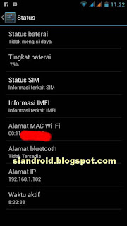 lihat mac address wifi android