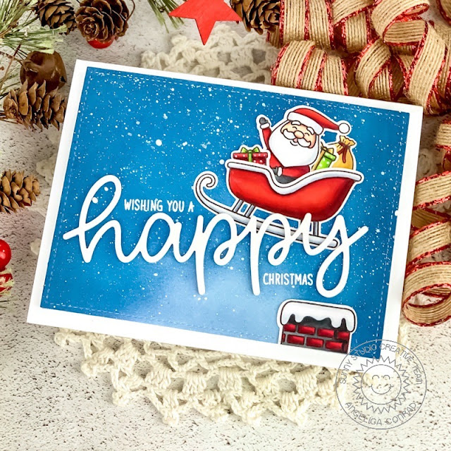 Sunny Studio Stamps: Santa Claus Lane Frilly Frame Dies Happy Word Die Christmas Card by Angelica Conrad