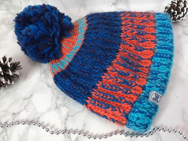 boy pom pom hat, knitted blue and orange