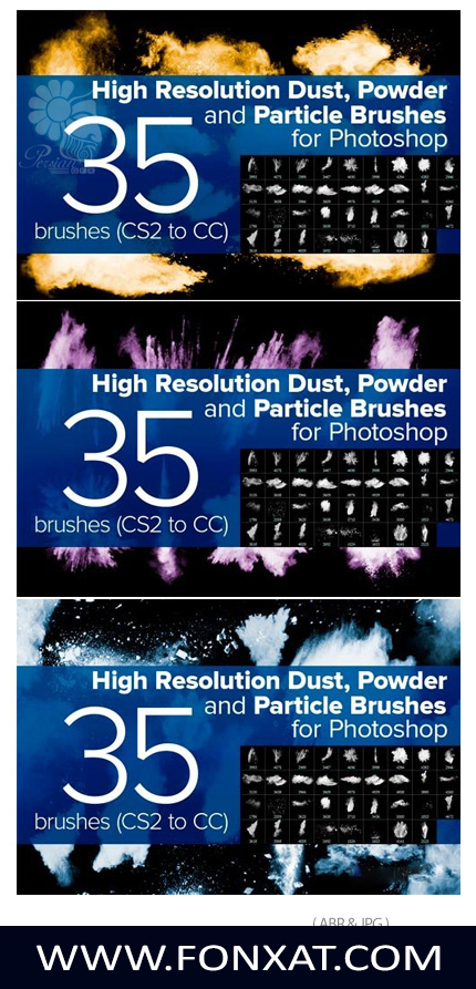 A collection of brushes Collection of 35 brushes for Photoshop form smoke and glow