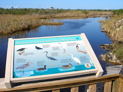 Clifton Heritage Wetlands and bird guide sign.