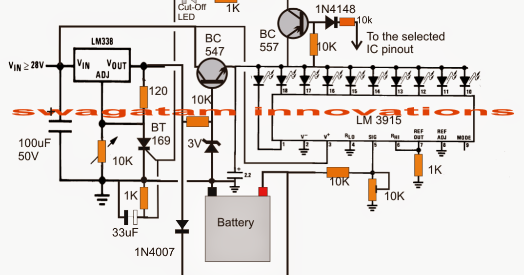 Led Wiring Diagram 9v Multimeter 3v, 4.5v, 6v, 9v, 12v, 24v, Automatic Battery Charger With ...
