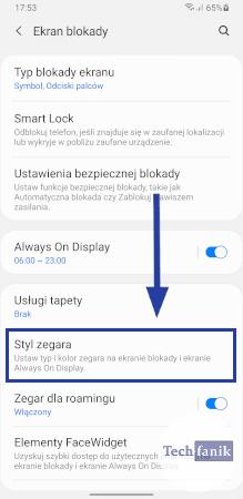 Ekran blokady w ustawieniach