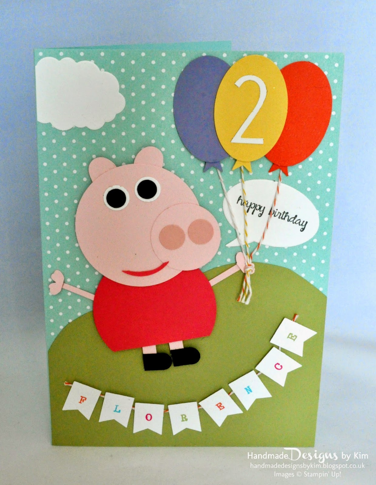 Stampin Up Demonstrator Kim Price Handmade By Kim Peppa Pig