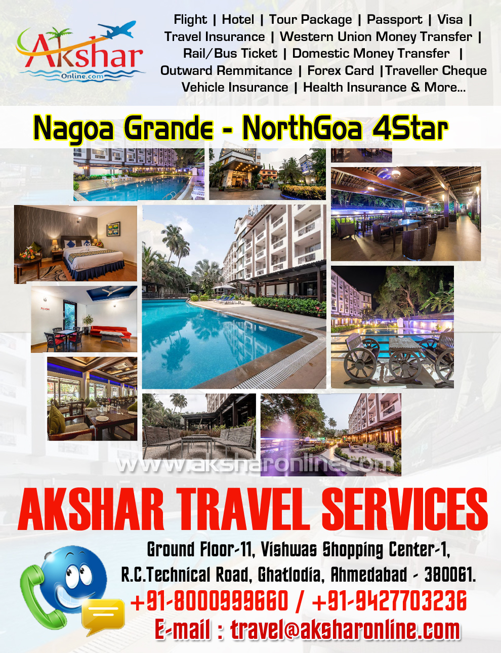 Nagoa Grande - Northgoa Address: No – 18, 1, Nagoa, Arpora, Goa 403516. Contact No 8000999660, 9427703236, Create memories to last a lifetime with tropical holidays at Nagao Grande, your preferred hotel in north Goa. Enjoy the relaxed Goan life in our luxurious, well-appointed rooms, indulge in your favourite dishes at our spacious dining areas or unwind with expert therapists at our spa. And what's more, you can plan a successful party or a business conference with our unmatched services and hospitality. Nagoa Grande is just 4kms from the famous Calangute beach and Baga beach in north Goa, and a short drive away from vibrant markets and tourist sites, night life and adventure. So come, experience the best of Goa with Nagoa Grande., Choose from 62 thoughtfully designed Superior Rooms, fully equipped with modern amenities. Enjoy 340 sq ft of elegant décor, comfort, and warm service. Goa 4Star Hotel Package with Pickup Drop Transfer and Sightseeing, goa tour package, akshar travel services, akshar infocom, aksharonline.com, ghatlodia, ahmedabad, gujarat, travel agency in ahmedabad, tour operator in ahmedabad, goa hotel, goa flight, goa resort, info.akshar@gmail.com