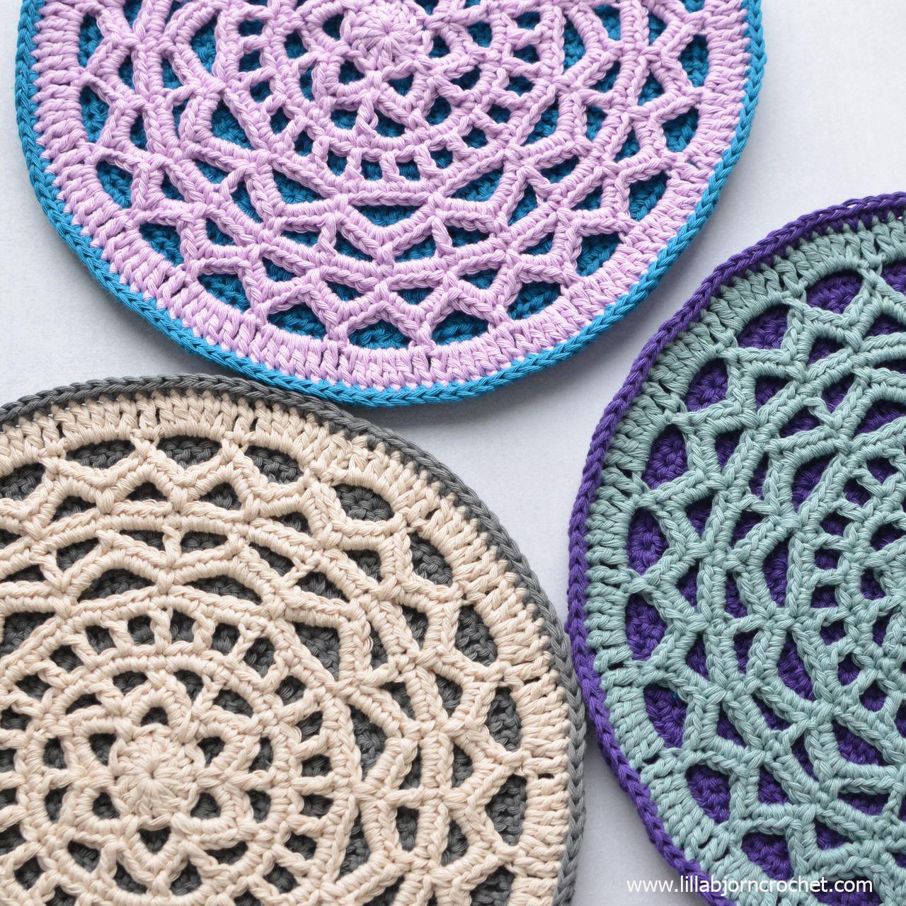 Geometric Mandala Hotpad - crochet pattern by www.lillabjorncrochet.com