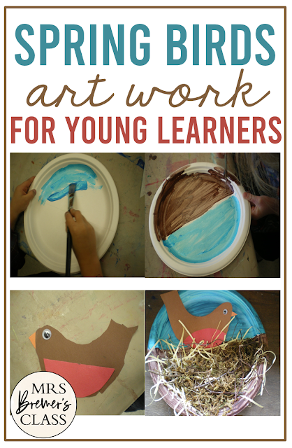 Spring birds with nests art lesson for Kindergarten and First Grade