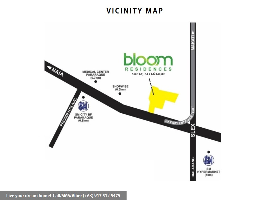 Vicinity Map - SMDC Bloom Residences - 2 Bedroom End Unit With Balcony | Condominium for Sale Sucat Paranaque