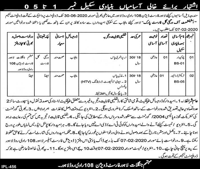 Jobs in Forest Division Lahore Latest Advertisement 2020
