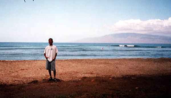 Posing with Molokai behind me in this photo taken at Maui 20 years ago.