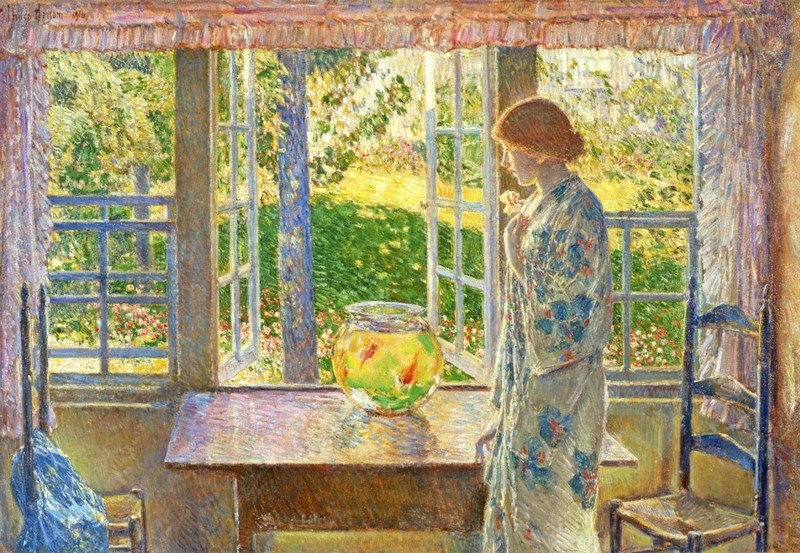 The goldfish window. Chilede Hassam. 1916