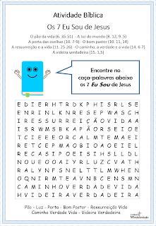 Atividade bíblica infantil - Os 7 Eu Sou de Jesus