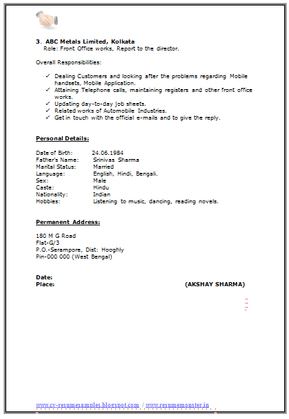 How To Write A Resume Format Free