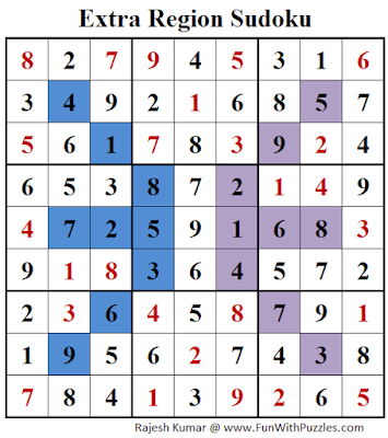 Extra Region Sudoku (Fun With Sudoku #140) Solution