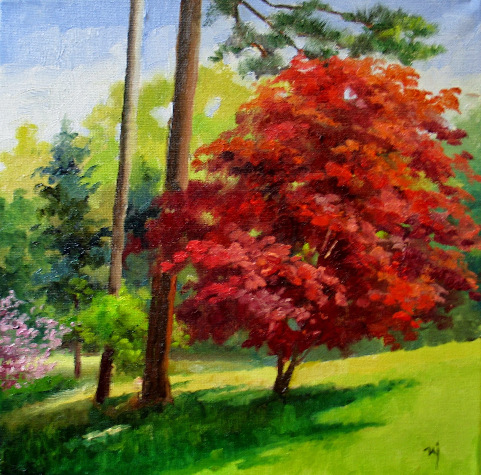 Nel's Everyday Painting: Neighbor's Backyard, Spring