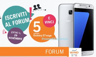 Logo Wind: iscriviti al Forum e vinci gratis Samsung Galaxy S7 Edge