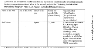25K Salary Staff Nurse Jobs Nizams Institute of Medical Sciences
