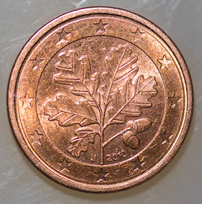 Obverse of 2010-J Euro Cent, date, mint mark, oak twig and acorns