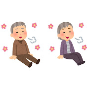 リラックスして座る人のイラスト(高齢者)