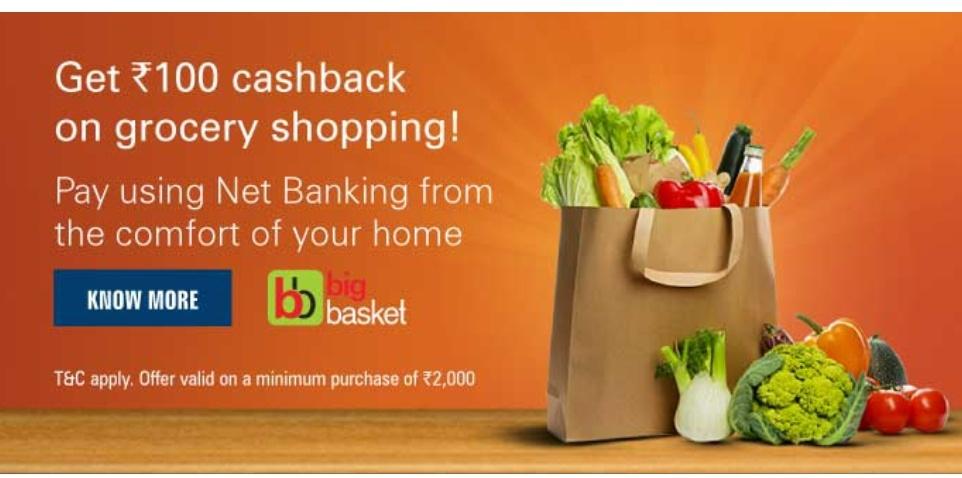 Big Basket ICICI Offer: Get Rs.100 Cashback on Grocery Shopping
