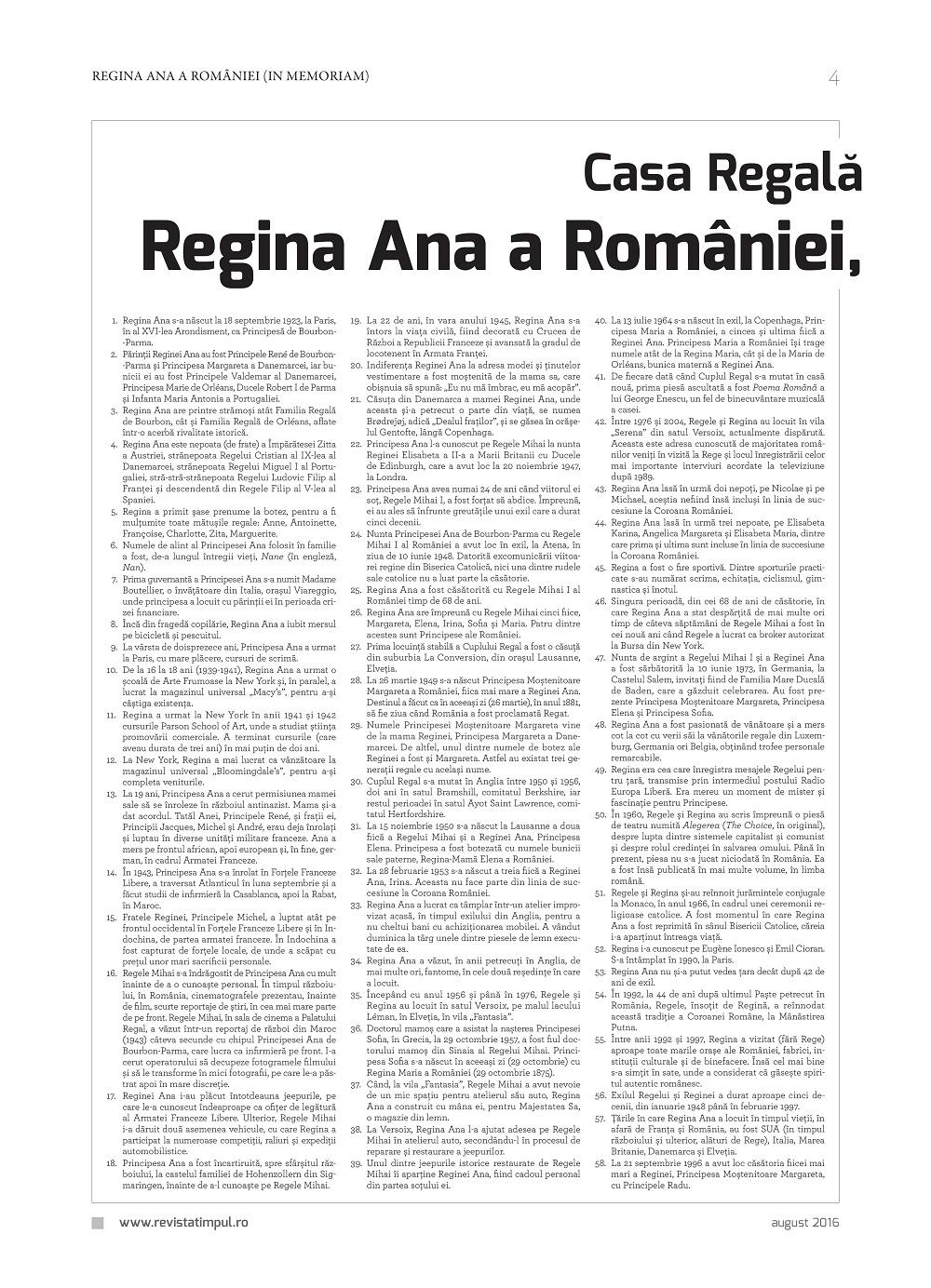 Revista Timpul, supliment dedicat Reginei Ana
