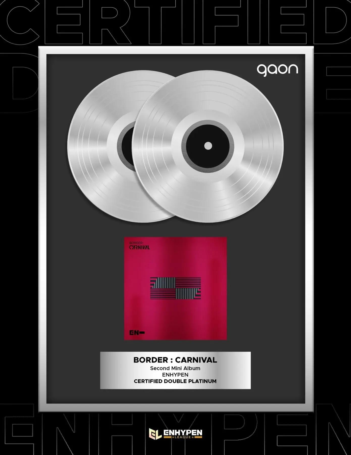 ENHYPEN Album 'BORDER: CARNIVAL' Gets Double Platinum Gaon and Gold RIAJ Certificates