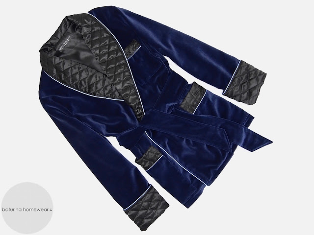Mens blue velvet smoking jacket quilted silk robe