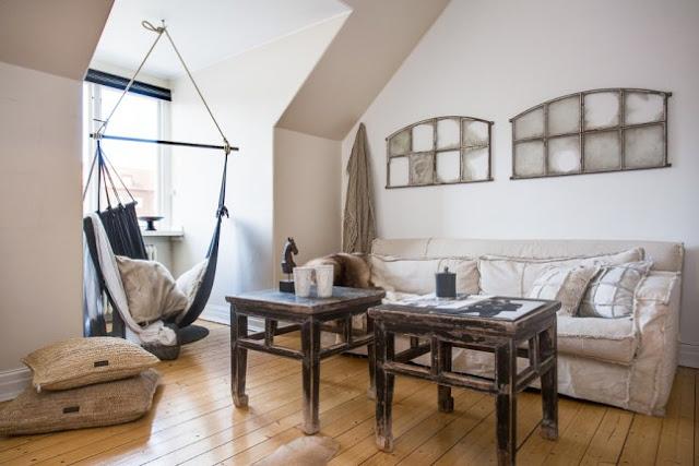 Accente rustice într-o mansardă de 66 m²