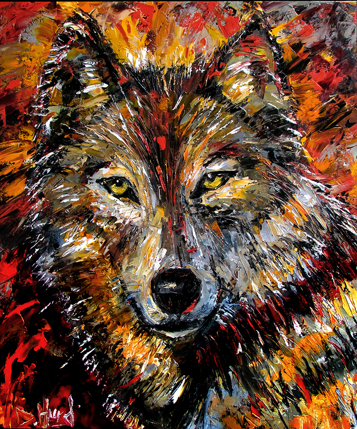 Daily painters of texas wolf wild animal art original oil for Animal oil paintings