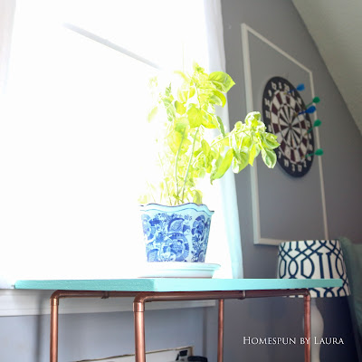 One Room Challenge Week 6 Home Office Sewing Craft Room Transformation DIY copper wood plant stand