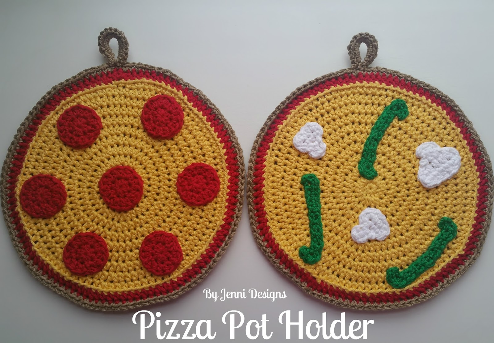 By Jenni Designs: Free Crochet Pattern: Pizza Pot Holder