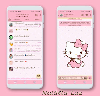 Hello Kitty on Rosas Theme For YOWhatsApp & Fouad WhatsApp By Natalia Luz